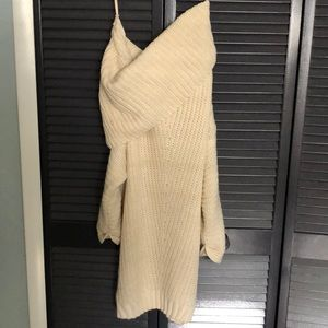 Cream sweater, off shoulder, tunic style, NWT M